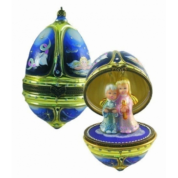 Елочная игрушка-яйцо «Ангельский хор», новогоднее украшение в виде шкатулки с сюрпризом
