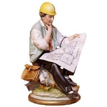 Коллекционная фарфоровая статуэтка «Строитель», Италия