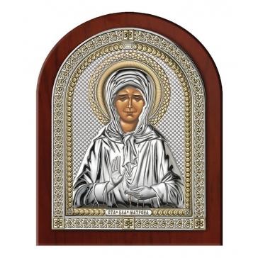 Посеребренная икона «Блаженная старица Матрона Московская»