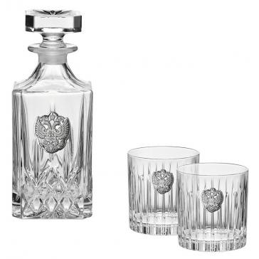 Подарочный набор для виски: штоф и два бокала.