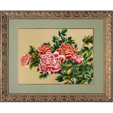 Вышитая шелковыми нитями картина ««Пионы Антуанетта»»