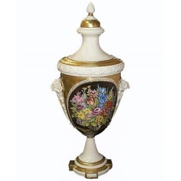 Фарфоровая ваза с крышкой. Амфора «Империя», высота 51 см