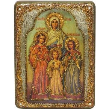 Подарочная икона «Вера, Надежда, Любовь и мать их София» на доске из морёного дуба