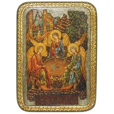 Икона «Троица» на доске с самоцветами.
