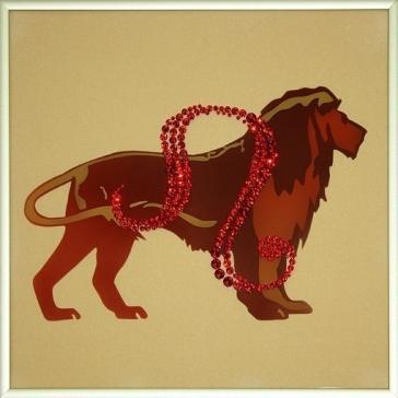 Картина инкрустированная стразами Сваровски «Знак зодиака Лев»
