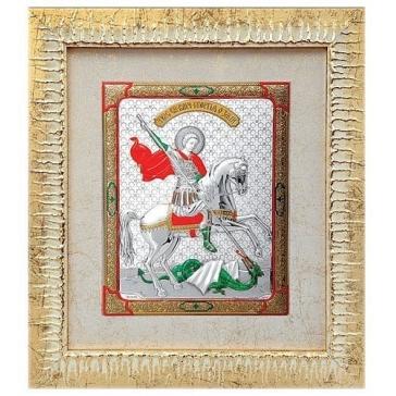 Посеребренная картина «Георгий Победоносец»