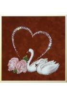 Картина «Пара лебедей с сердцем»