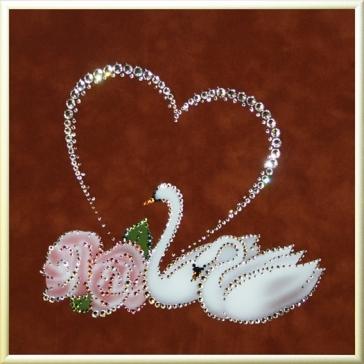 Картина Сваровски «Пара лебедей с сердцем»