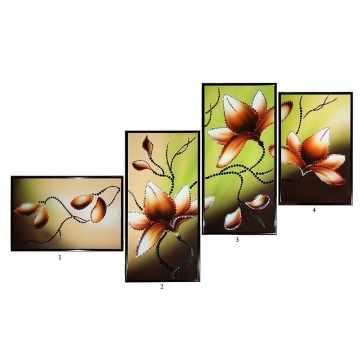 Модульная композиция из 4-х картин Сваровски «Магнолия»