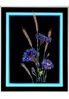 Картина «Васильки с колосьями»