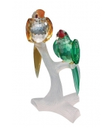 Хрустальная фигурка «Два попугая на ветке»