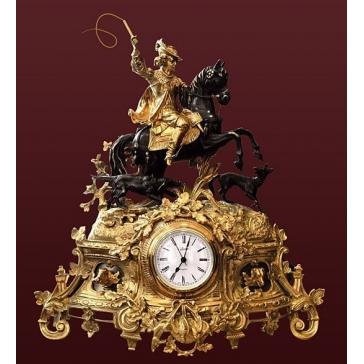 Каминные часы из бронзы «Охота»