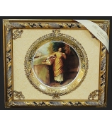 Панно из керамики «Девушка с корзиной цветов»