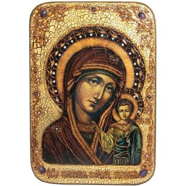 Большая икона «Казанская Божья Матерь» на дубовой доске