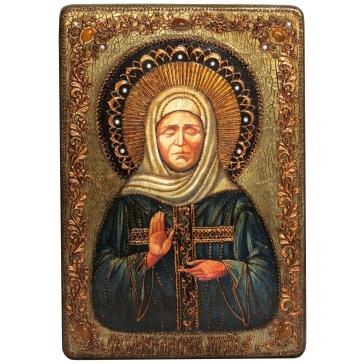 Подарочная икона «Святая Матрона Московская» в деревянной шкатулке.