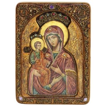 Живописная икона Божией Матери «Троеручица» на кипарисовой доске.
