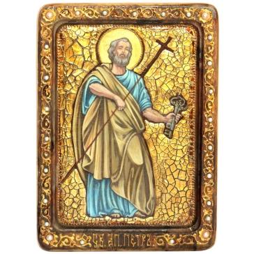 Живописная икона Первоверховного апостола Петра со свидетельством.