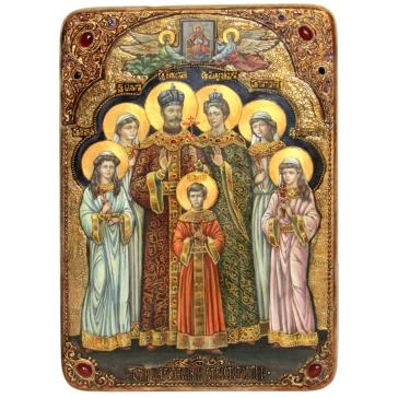 Живописная икона «Святые царственные страстотерпцы», большая