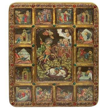 Живописная икона «Чудо вмч. Димитрия Солунского о царе Калояне с житийными сценами»