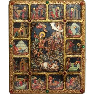 Икона «Чудо вмч. Димитрия Солунского о царе Калояне» с житийными сценами