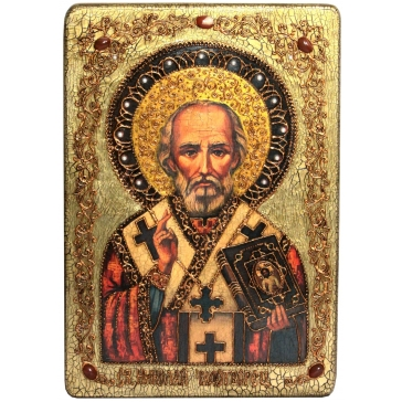 Большая икона «Святитель Николай, архиепископ Мир Ликийский (Мирликийский), чудотворец» на доске из морёного дуба