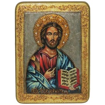 Подарочная икона «Господь Вседержитель» на морёном дубе