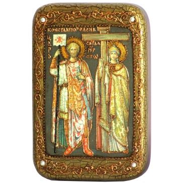 Икона «Святые равноапостольные Константин и Елена», в деревянной шкатулке