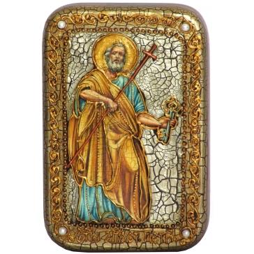 Икона Первоверховного апостола Петра в деревянной шкатулке.