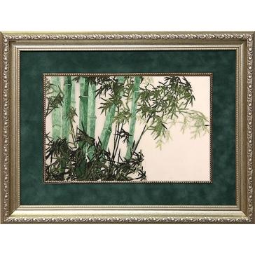 Вышитая шелковыми нитями картина «Бамбуковая роща»
