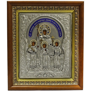 Подарочная икона «Вера, Надежда, Любовь и мать их София», посеребренная