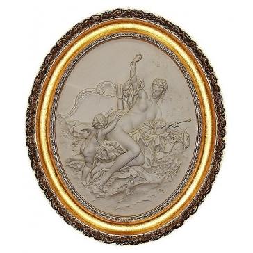 Барельефное панно из фарфора «Венера и купидон», Италия
