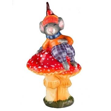 Стеклянная елочная игрушка «Мышонок на мухоморе», производство Польша