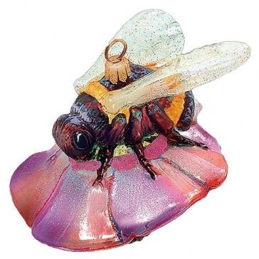Елочная игрушка «Пчела на цветке», украшение ручной работы из стелка