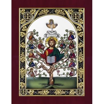 Икона «Спас Древо жизни», посеребренная, Италия.
