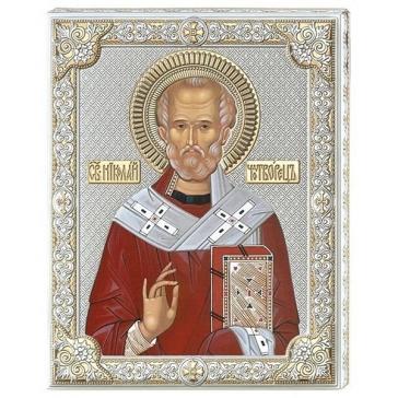 Подарочная посеребренная икона «Николай Чудотворец»