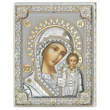Казанская Икона Божией Матери, посеребренная, Италия
