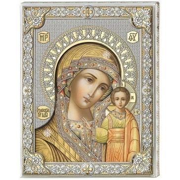 Посеребренная икона Казанская Божья Матерь, Италия