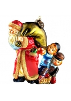 Елочная игрушка «Санта с мешком подарков и дети»
