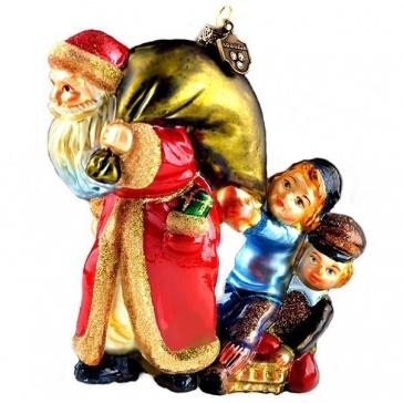 Стеклянная ёлочная игрушка «Санта с мешком подарков и дети»