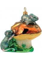 Елочная игрушка «Мышки на грибе»