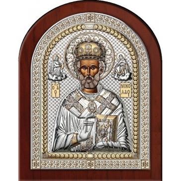 Посеребренная икона «Святой Николай Угодник»