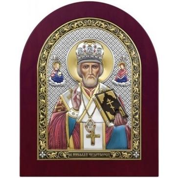 Посеребрённая икона «Николай Угодник»