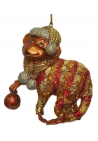 Елочная игрушка «Обезьянка с шариком»
