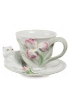 Чайная пара «Котенок с ирисом»