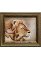 Шелковая картина «Голова льва»