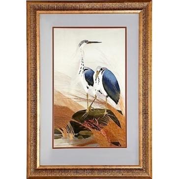 Вышитая шелковыми нитями картина «Два ибиса»