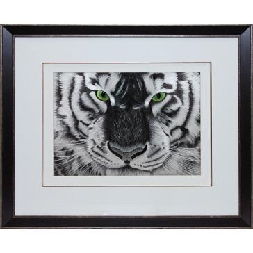 Вышитая шелковыми нитями картина «Бенгальский тигр»