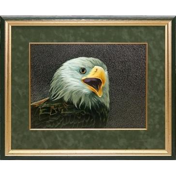 Вышитая шелковыми нитями картина «Орел»