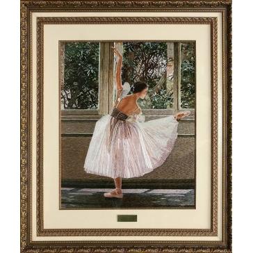 Вышитая шелком картина «Балерина у окна»