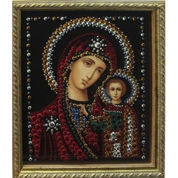 Икона с кристаллами Сваровски «Казанская Божья Матерь»